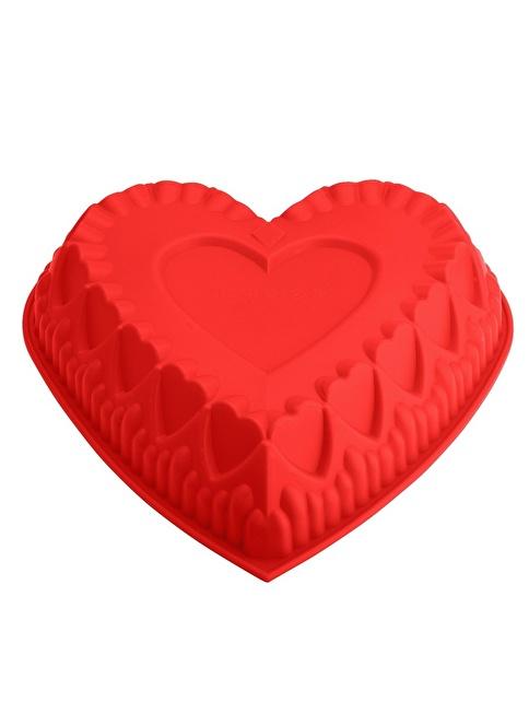 Tantitoni Silikon Kırmızı Kalp Şekilli Kek Kalıbı 30X28X6.5Cm Kırmızı